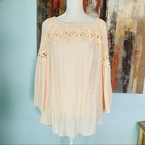 Melissa Paige Lace Bell Sleeve Tunic Top